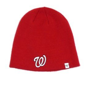 MLB Washington Nationals Beanie Hat OS Red White